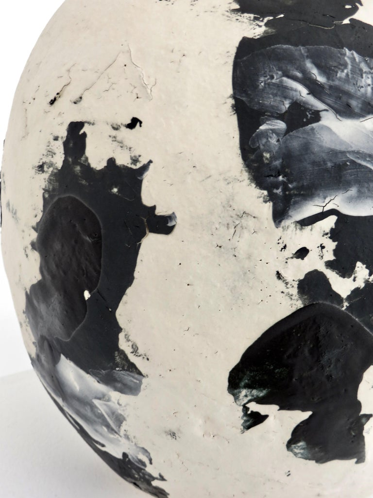 David Whitehead Ceramic Artist White and Black Wood Fired Ceramic Vase La Borne  For Sale 4