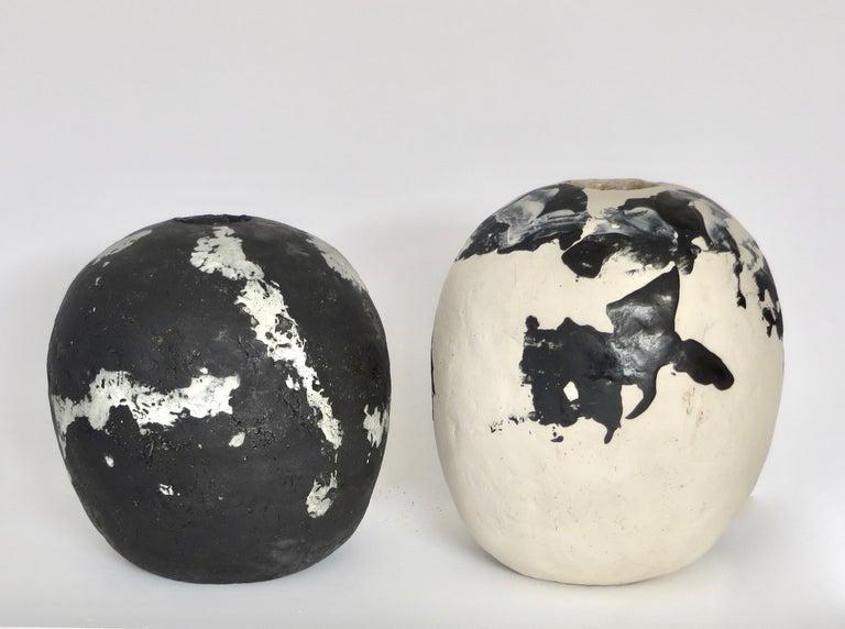 David Whitehead Ceramic Artist White and Black Wood Fired Ceramic Vase La Borne  For Sale 5
