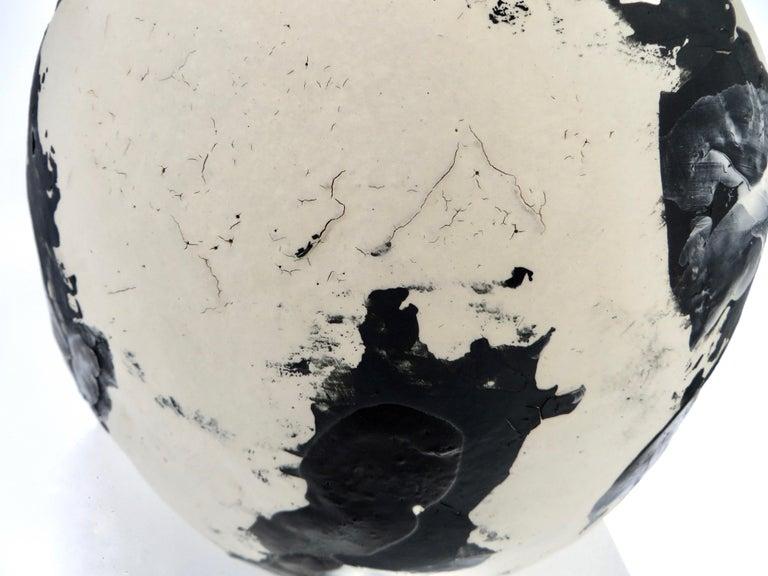 David Whitehead Ceramic Artist White and Black Wood Fired Ceramic Vase La Borne  For Sale 3