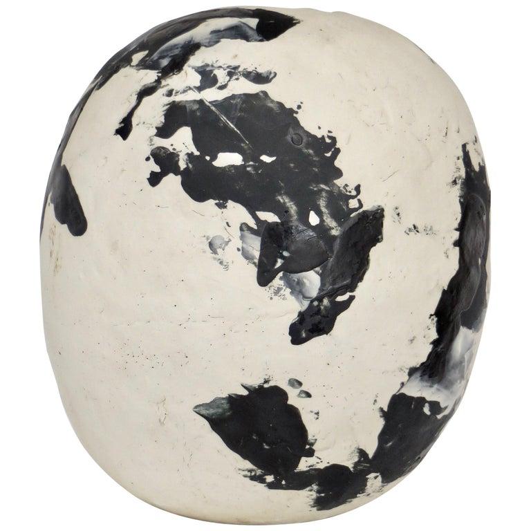 David Whitehead Ceramic Artist White and Black Wood Fired Ceramic Vase La Borne  For Sale