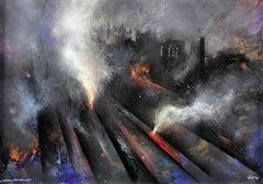 Study in Smog,Victoria Station,Manchester c.1960.Steam & Diesel Trains.Railroad.