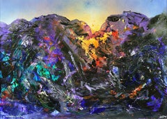 The day also rises (Snowdonia). Original Abstract Landscape Painting. Mountains.