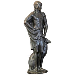 """David with His Hound,"" Unique and Important Sculpture by Paul Manship, 1914"