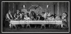 Last supper in texas - model and cowboys dining in western look