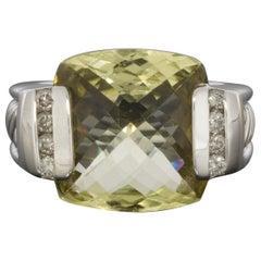 David Yurman 0.20 Carat Cushion Quartz and Diamond Unique Ladies Ring