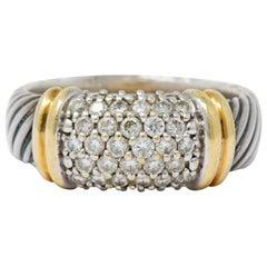 David Yurman 1.00 Carat Diamond 18 Karat Gold Sterling Silver Metro Ring