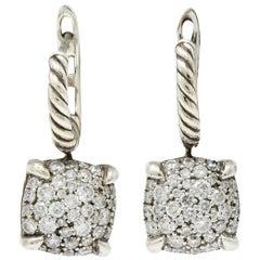 David Yurman 1.28 Carat Pave Diamond Sterling Silver Chatelaine Drop Earrings