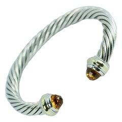 David Yurman 14 Karat Gold and .925 SS Cable Citrine Classic Kick Cuff Bracelet