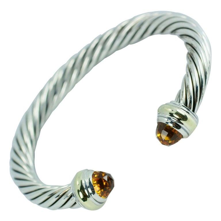David Yurman 14 Karat Gold and .925 SS Cable Citrine Classic Kick Cuff Bracelet For Sale