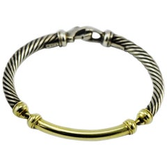 David Yurman 14 Karat Gold and Sterling Cable Link Bracelet