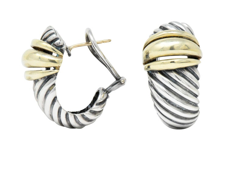 Contemporary David Yurman 14 Karat Gold Sterling Silver Cable Twist Earrings For Sale