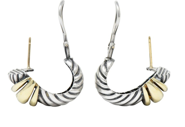David Yurman 14 Karat Gold Sterling Silver Cable Twist Earrings In Excellent Condition For Sale In Philadelphia, PA
