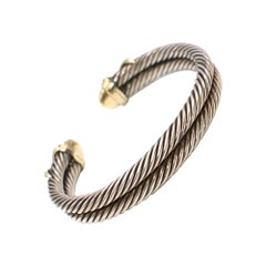 David Yurman 14 Karat Gold Sterling Silver Double Row Cable Cuff
