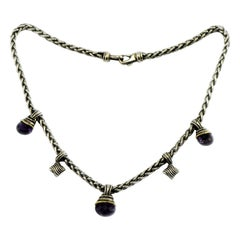 David Yurman 14 Karat Sterling Wheat Necklace with Faceted Amethyst Gems