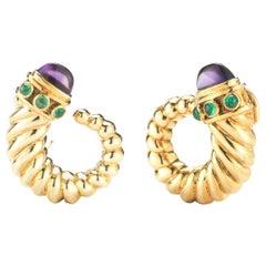 David Yurman 14 Karat Yellow Gold Amethyst and Emerald Cornucopia Earrings