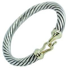 David Yurman 14 Karat Yellow Gold and .925 SS Cable Buckle Bracelet