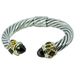 David Yurman 14 Karat Yellow Gold and .925 SS Cable Hinged Bangle