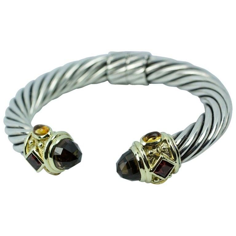 David Yurman 14 Karat Yellow Gold and .925 SS Cable Hinged Bangle For Sale