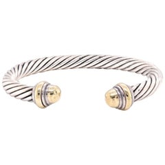 David Yurman 14 Karat Yellow Gold and Sterling Silver Cable Cuff Bangle