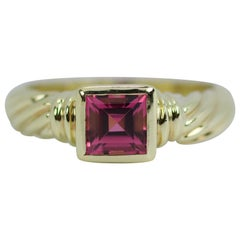 David Yurman 14 Karat Yellow Gold Cable Design Asscher Cut Pink Center Ring