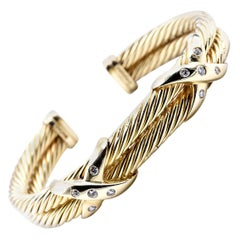 "David Yurman 14 Karat Yellow Gold Diamond ""X"" Bangle Bracelet"