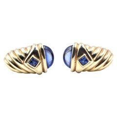 David Yurman 14 Karat Yellow Gold Sapphire Thoroughbred Shrimp Earrings