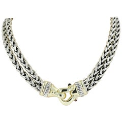 David Yurman 14 Karat Yellow Gold & Sterling Silver Buckle Necklace