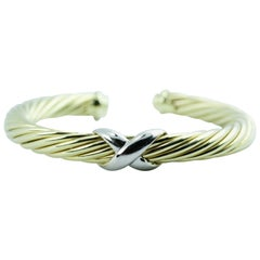 David Yurman 14 Karat Yellow Gold X Design Cable Bangle Fits Wrist