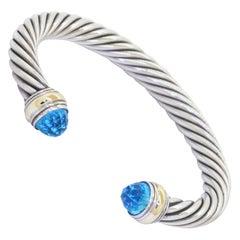David Yurman 14k Gold & 925 Sterling Silver Blue Topaz Cuff Bracelet