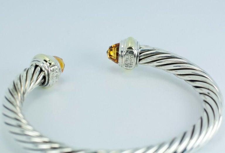 Modern David Yurman 14 Karat Gold and .925 SS Cable Citrine Classic Kick Cuff Bracelet For Sale