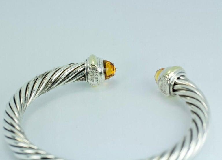 Briolette Cut David Yurman 14 Karat Gold and .925 SS Cable Citrine Classic Kick Cuff Bracelet For Sale