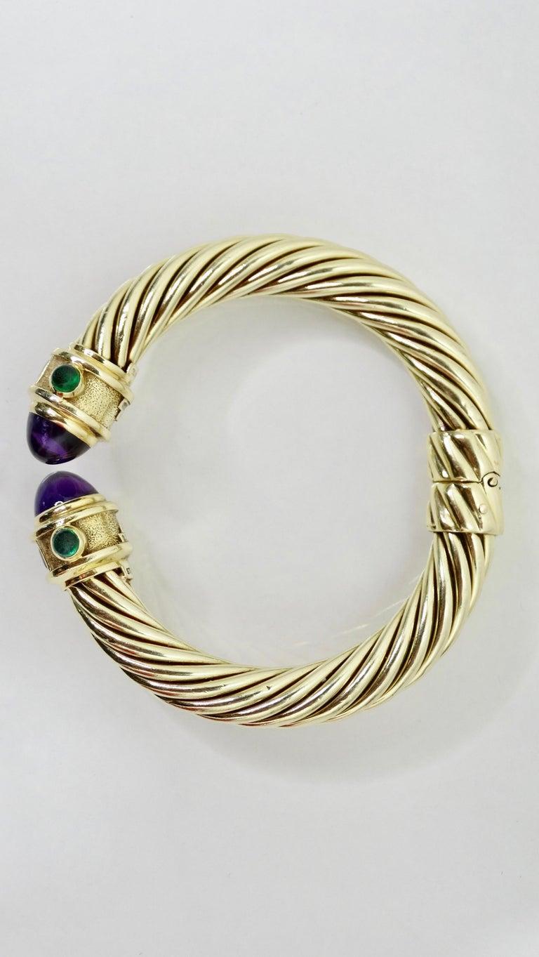 Cabochon David Yurman 14k Gold & Sterling Silver Renaissance Bracelet   For Sale