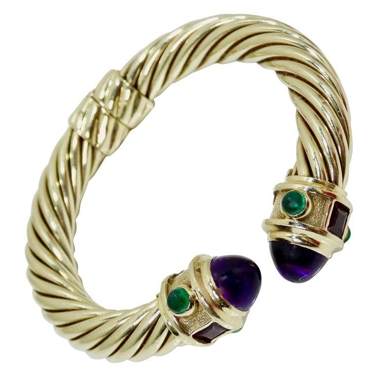 David Yurman 14k Gold & Sterling Silver Renaissance Bracelet   For Sale