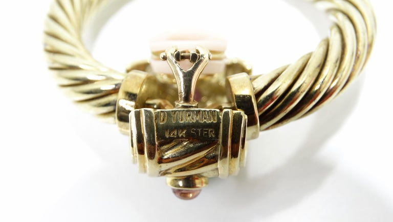 Oval Cut David Yurman 14K Gold & Sterling Silver Renaissance Hoop Earrings  For Sale