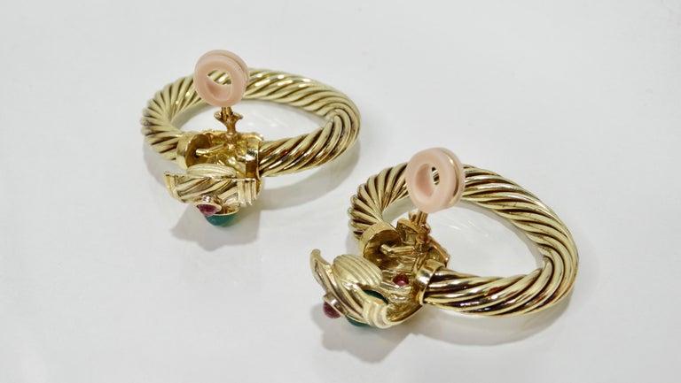 David Yurman 14K Gold & Sterling Silver Renaissance Hoop Earrings  In Good Condition For Sale In Scottsdale, AZ