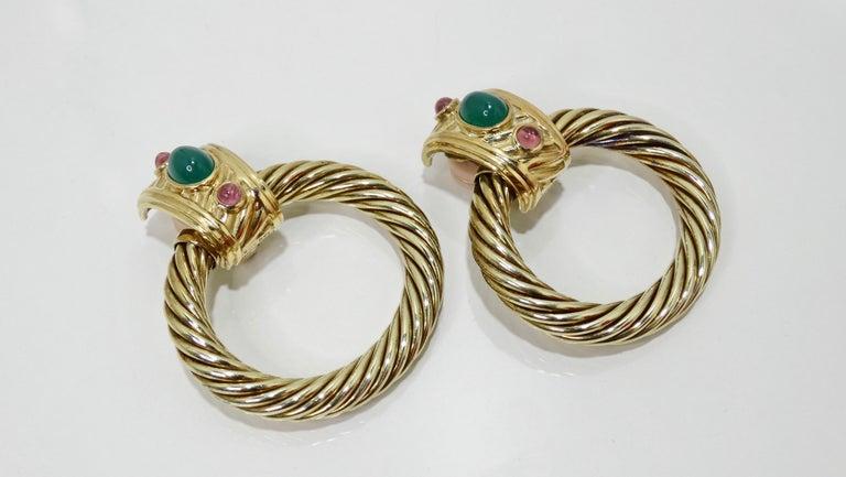 Women's or Men's David Yurman 14K Gold & Sterling Silver Renaissance Hoop Earrings  For Sale