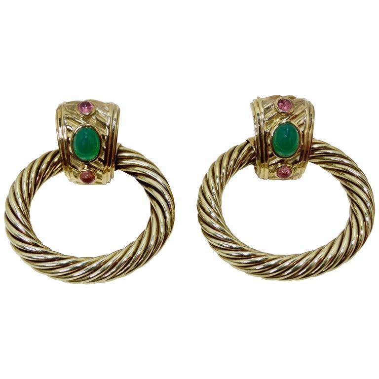 David Yurman 14K Gold & Sterling Silver Renaissance Hoop Earrings  For Sale