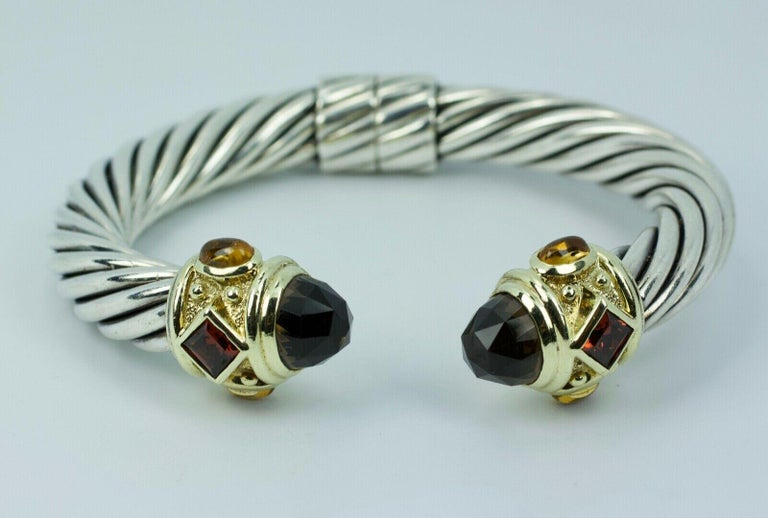 .925 SS And 18k Yellow Gold David Yurman Smokey Quartz And Diamond  Bracelet   51.5 Grams   Size Medium  This exact bangle is not on the Yurman website. But the exact one with different color gemstones is available from $3600-3900. you can purchase