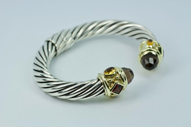 David Yurman 14 Karat Yellow Gold and .925 SS Cable Hinged Bangle In Good Condition For Sale In Montgomery, AL