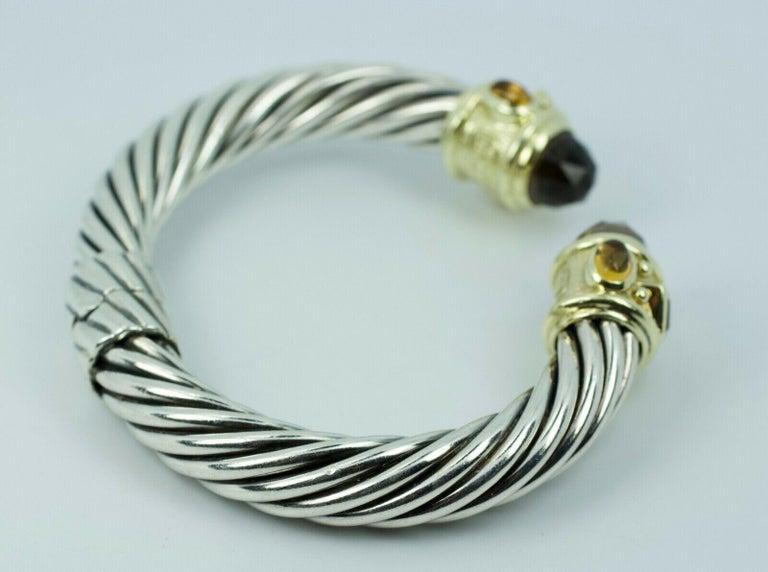 Women's David Yurman 14 Karat Yellow Gold and .925 SS Cable Hinged Bangle For Sale
