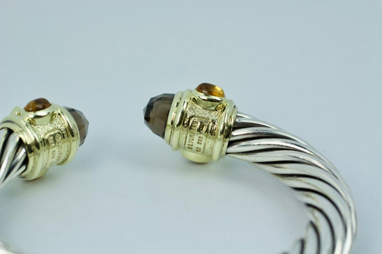 David Yurman 14 Karat Yellow Gold and .925 SS Cable Hinged Bangle For Sale 1