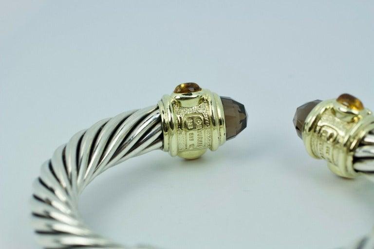 David Yurman 14 Karat Yellow Gold and .925 SS Cable Hinged Bangle For Sale 2