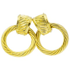 David Yurman, 14K Yellow Gold Door Knocker Hoop Earrings