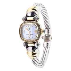 David Yurman 18 K Yellow Gold and Sterling Silver Cable Watch with Diamond Dial