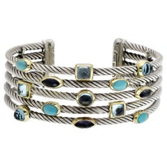 David Yurman 18 Karat Gold 925 Silver 5-Row Confetti Gemstone Cuff Bracelet