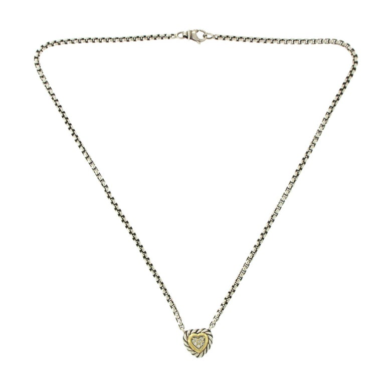c0774a658db9e David Yurman 18 Karat Gold and Sterling Silver Pave Diamond Heart Necklace  For Sale