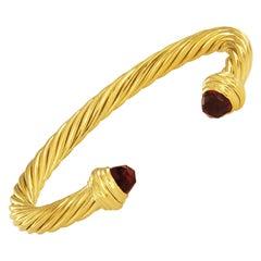 David Yurman 18 Karat Gold Cable Classics Bracelet with Garnet