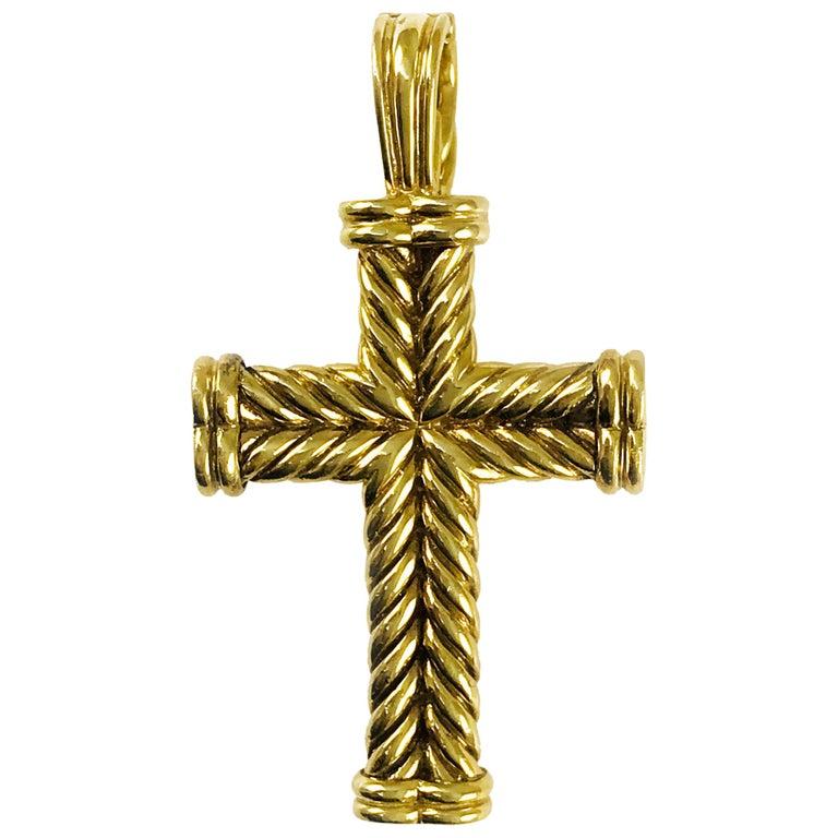 8c5f79a0ea85 David Yurman 18 Karat Gold Cable Cross Pendant For Sale at 1stdibs