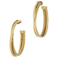 David Yurman 18 Karat Gold Hoop Earrings