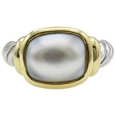 David Yurman 18 Karat Gold, Silver and Pearl Ring
